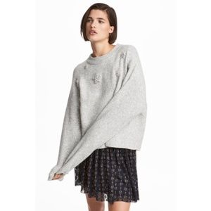 H&M knit beaded gray star sweater